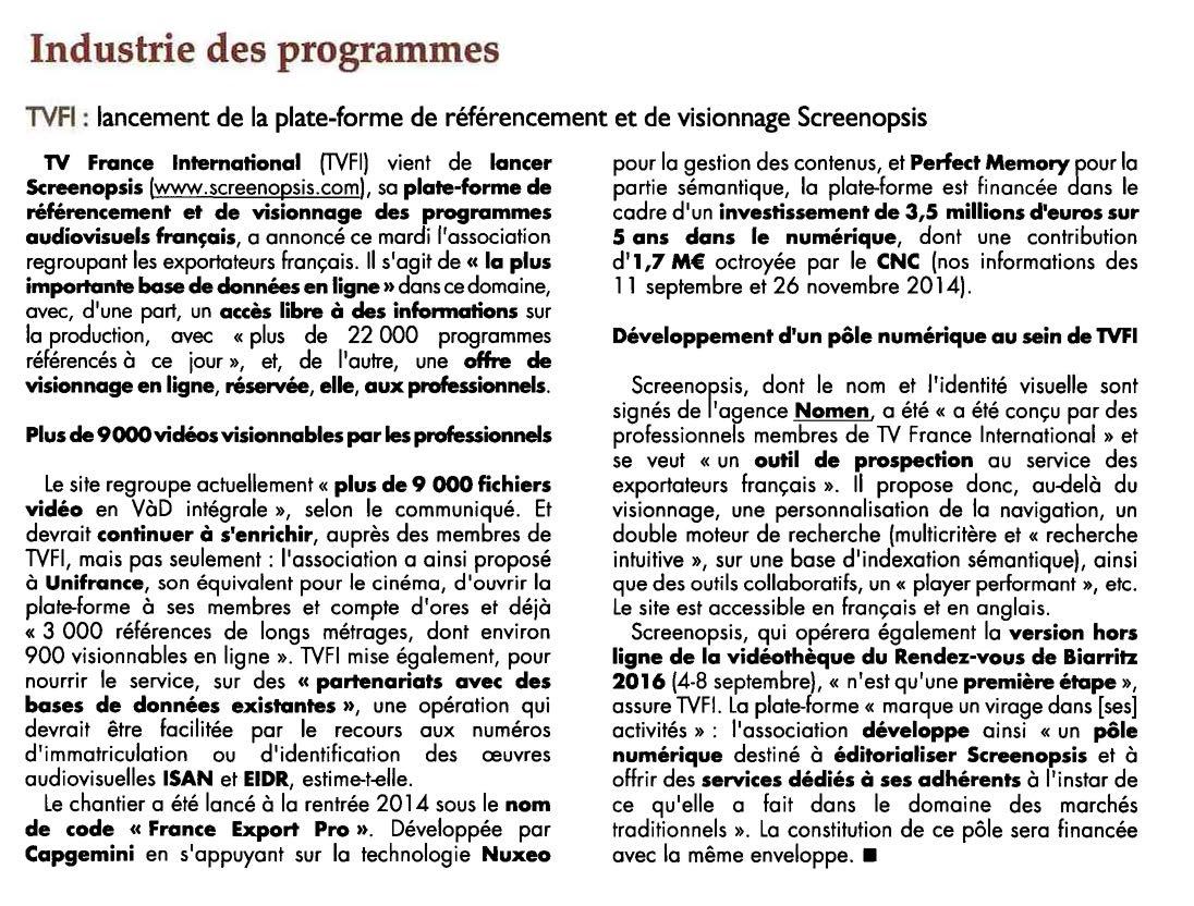 TV France International lance Screenopsis (Naming & Design par Nomen)