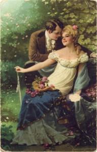 Jeune homme contant fleurette à une jeune fille
