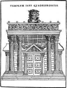 L'Arc de Janus surmonté de sa tête quadriface