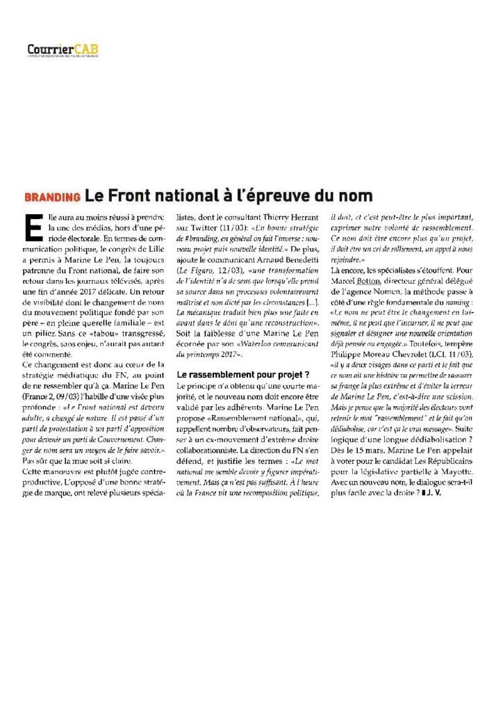 Branding :  Le Front national à L'épreuve du nom
