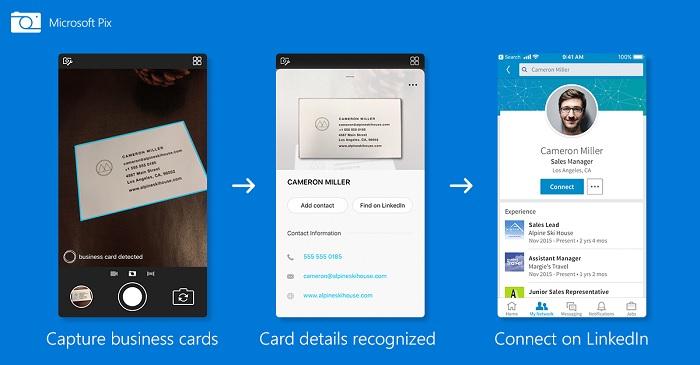 Business-card-de-Microsoft-sur-lapplication-Pix