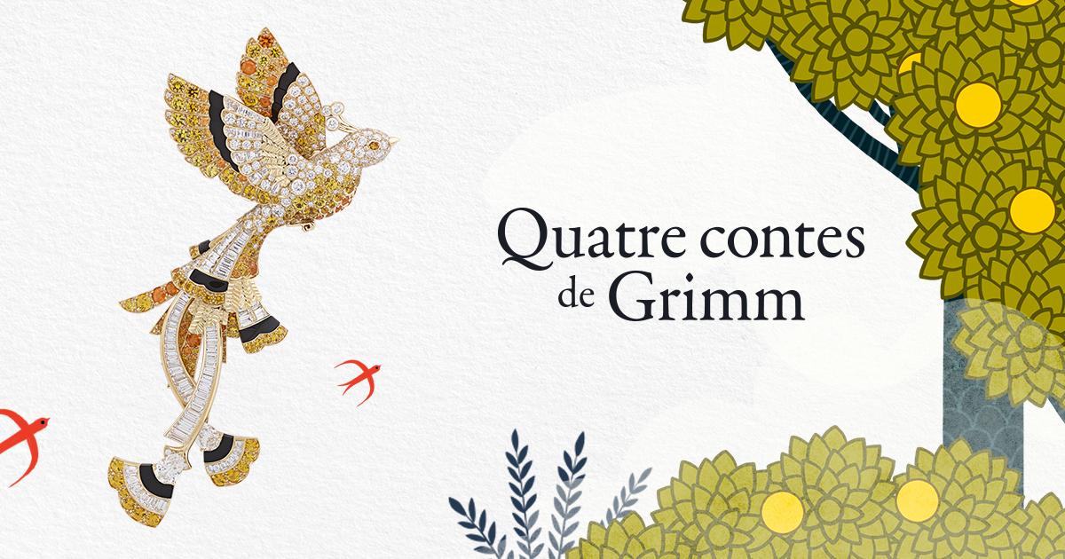 """Image d'oiseau de Van Cleef and Arpels avec une fée et l'inscription """"quatre contes de Grimm"""""""