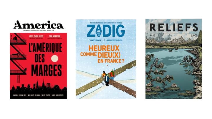 Les derniers numéros des revues America, Zadig et Reliefs